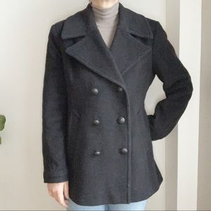 Karl Lagerfeld Paris Black Wool Blend Coat Jacket